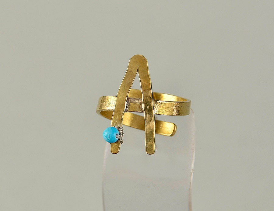 Monogram gold ring alphabet letter ring turquoise ring pinky