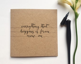 Everything that happens Bon Iver greeting card, lyrics, typography