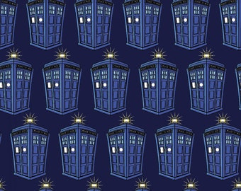 Doctor Who Fabric, Police Public Call Box Fabric from Springs Creative Licensed - Listed by the Half Yard