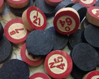 VINTAGE Wooden BINGO Pieces, 115 Large Collection Bingo Chips, Retro Bingo Game Wood Chips, Free Shipping