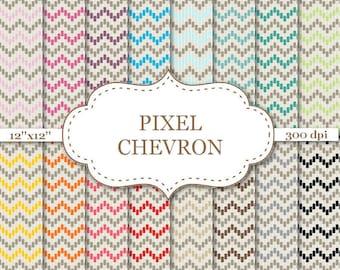 "PIXEL CHEVRON digital paper Chevron pattern Rainbow chevron Scrapbooking kit Chevron pattern background Pixel digital paper 12""x12"" #P151"
