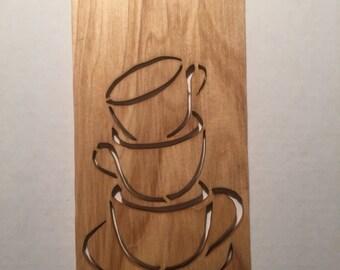 Wood Coffee Cup Scroll Saw Wall Hanging
