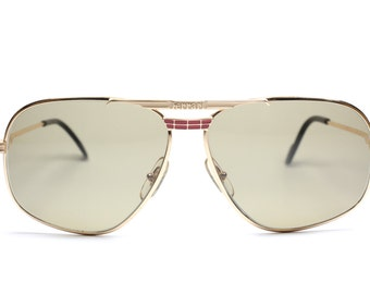 Gafas de sol Vintage gafas de sol de Ferrari F-14 524 / cuadrados / doble distintivo puente oro gafas de sol hecha en Italia en los años 80