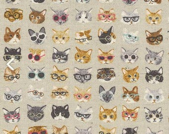 Tiny Cats in Glasses Animal World Cat Faces on Beige Kawaii Kokka Japanese Cotton Linen Canvas Fabric from Japan