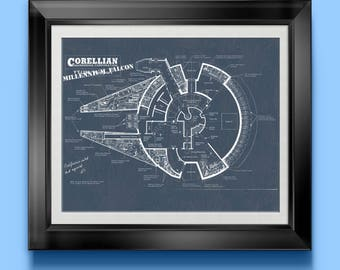 Millennium Falcon Space Ship Print Star Wars Patent Poster Wall Art Sci-fi Room Decor Toy Room Poster Playroom Science Fiction Artwork 4755