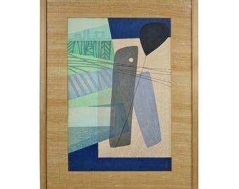 """Chizuko Yoshida """" Windows """" Japanese Wood Block Print 1954"""
