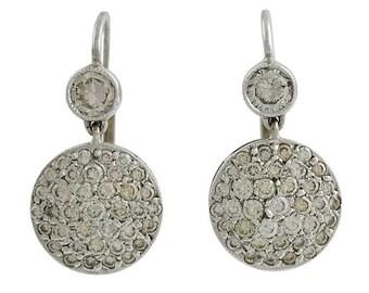 18K White Gold Pave Diamond Pierced Earrings