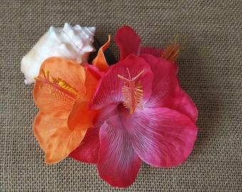 Hibiscus pink and orange handmade hair clip
