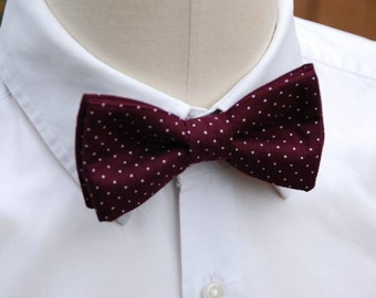 Burgundy bowtie white pea, bow tie pre tied, bowtie, marriage, wedding