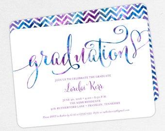 Graduation Invitation, Graduation Announcement, Printable Invite, Invitation PDF, DIY, Printed, Blue, Purple, Chevron, Watercolor, Lorelai