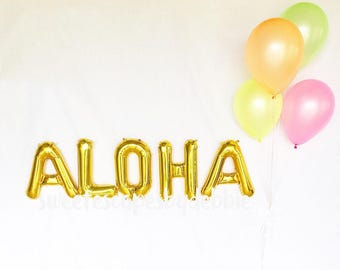 Aloha Gold Letter Balloons ~ Neon Latex Balloons ~ Luau Party~ Aloha Beaches ~ Aloha Party Decorations ~ Aloha Banner~ 16 inch Air Fill Only