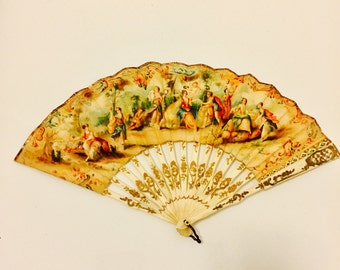 Vintage Hand Painted Fan with Gold Inlay.