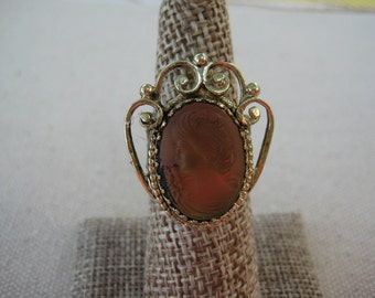 Upcycled Ring Vintage Ring Chic Statement Ring Upcycled Recycled Repurposed Jewelry Vintage Earring Earth Tone Cameo Gift for Her /R21