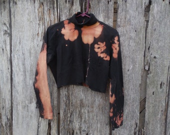 Custom one of a kind bleached cut off Black crop top turtleneck Medium grunge street wear urban fashion distressed destroyed unique upcycled