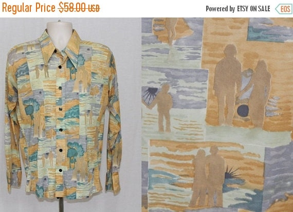 On Sale Vintage 70s Monzini SUNSET Beach COUPLE Lovers DISCO Leisure Pimp Suit Shirt L