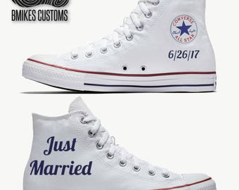 Just Married Wedding Converse Shoes