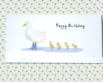Mother Duck & Ducklings Greetings Card - Happy Birthday, New Baby, Any Occasion