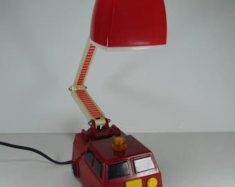 Vintage Fire Truck with Adjustable Ladder Lamp, Children's Night Light