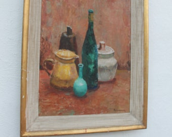 Vintage Still Life Bottles Painting By Alexander .