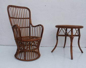 Franco Albini  Style Rattan Bentwood Chair And Side Table .