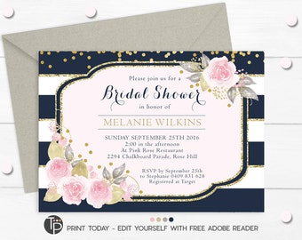 BRIDAL SHOWER INVITATION, Instant Download Bridal Shower Invitations, Pink Floral Bridal Shower Invitation, Floral Navy Stripes Invitation