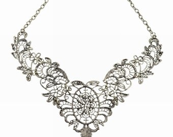 Victorian Lace Metal Choker Necklace