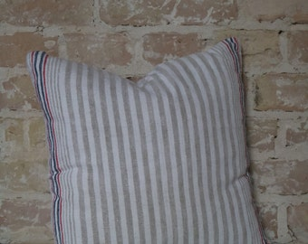 pillow from antique linen: red-blue stripes 40*40cm