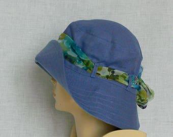Linen hat, summer hat, women's hat, light bluegreen hat
