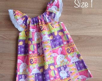 Girls Dress , Flutter Sleeve Dress, Size 1 , Easter Bunny, baby girl dress, handmade dress, party dress, ready to ship