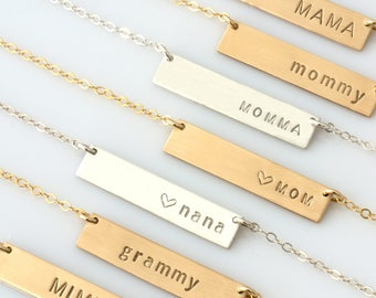Custom Hand Stamped Necklace,Mama Bar Necklace,Nana Bar Necklace,Mommy Bar Necklace,Grammy,MiMi,Personalized Name Bar,LEILAjewelryshop