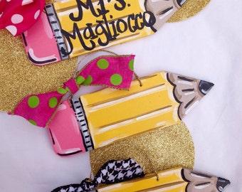 Pencil Ornament/Teacher Pencil Ornament/FREE SHIPPING/Teacher Gifts/Personalized Teacher Gift