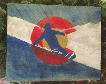 NEW!! One of a kind  Snowboarding Co Flag Painting on CO rough cut Pine  Unique Christmas Gift Idea, hand painted by Shari's O Creations.