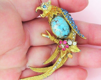 Fabulous Vintage Parrot Bird of Paradise Diamente Brooch