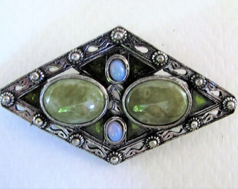 Outstanding Vintage Scottish 'Miracle' Marble Opal Green Glass Brooch