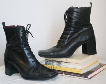 90s leather lace up granny boots size 8 grunge goth chunky block heel square toe laces