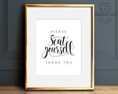Please seat yourself, Bathroom wall decor, PRINTABLE art, Funny bathroom art, Restaurant decor, Bathroom signs, Bathroom prints, Washroom