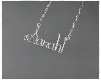 Sarah Wire Word Name Pendant Necklace