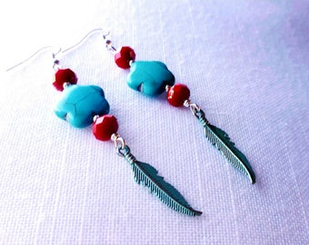 Beautiful boho earrings with siam red em turquoise howlite.