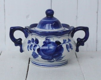 Antique Sugar bowl Cobalt Blue Bowl Soviet Sugar Bowl Vintage Russian tableware Sugar box USSR  Folk style Bowl Blue and White Ceramic Bowl
