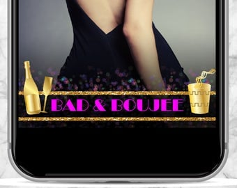 BAD & BOUJEE Bad and Bougie pink purple and gold glitter SnapChat Geofilter - Customized Birthday, 30th Birthday, 21st Birthday Party Filter
