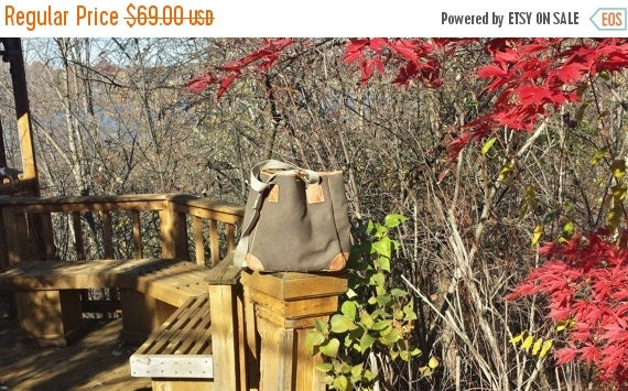 Football Days Sale Mulholland Brothers Waxed Olive Green Canvas & Saddle Brown Leather Endurance Tote- GUC