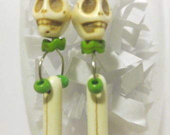 White Skull Bone Spike Green Earrings