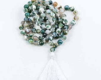 Tree Agate 108 Mala Necklace
