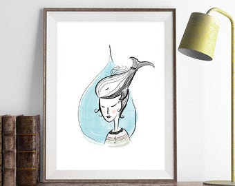 The Girl of the Sea Poster, Vector Art Print, Illustrations, Wall Hanging Wall Art Decor, Home/Office Decor Poster, Gift Idea