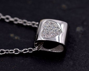 Sterling Silver Heart Simple Pendant Necklace with Sparkly Paved CZ Crystals  z104