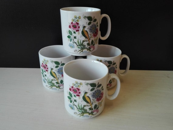 Bavaria , West Germany coffee cups, peacock