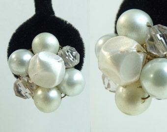 60s earrings, bauble earrings, faux pearls, ice blue ivory, chunky earrings, 1960s mad men, made in japan, vintage earrings, costume jewelry