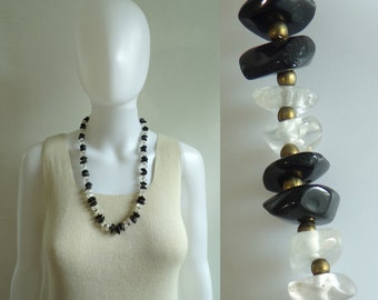 80s glass & ceramic bead necklace, black clear chunky beaded necklace, 1980s vintage necklace, costume jewelry, jewellery