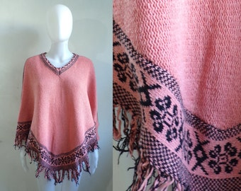 40%offAug22-24 70s pink southwestern poncho, 1970s knit acrylic & wool fringe cape sweater top, tribal poncho
