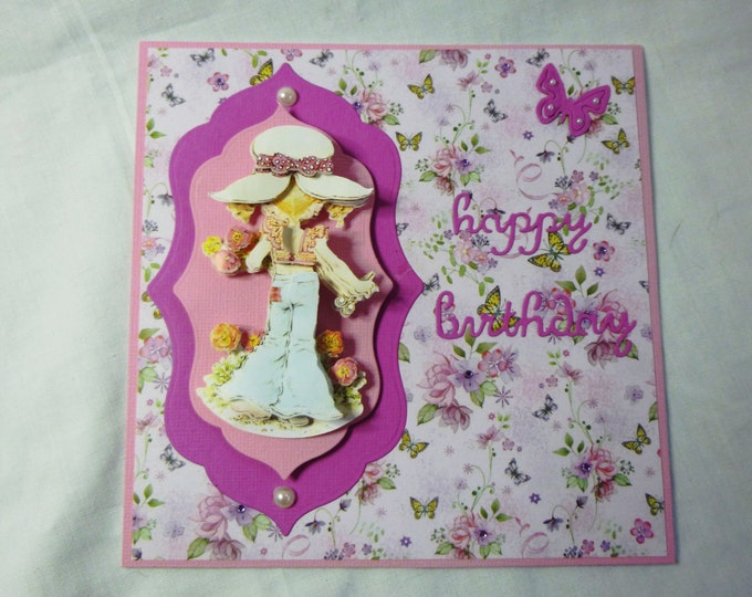 3D Decoupage Card, Birthday Card, Greeting Card, Flowers and Butterflies, Girls any age, Daughter, Sister, Niece, Grandaughter,